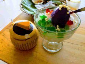 ハロハロ(紫芋アイスとフルーツかき氷)